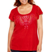 St. John's Bay® Flutter-Sleeve Embroidered Top - Plus