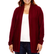 St. John's Bay® Long-Sleeve Flyaway Cardigan - Plus