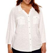 Liz Claiborne® 3/4-Sleeve Button-Front Knit Shirt - Plus