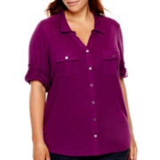 Liz Claiborne® 3/4-Sleeve Button-Front Knit Shirt - Plus
