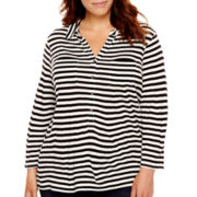 Liz Claiborne® 3/4-Sleeve Henley Tunic - Plus