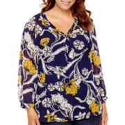 Liz Claiborne® 3/4-Sleeve V-Neck Chiffon Top - Plus Size