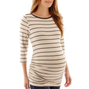 Maternity 3/4-Sleeve Striped Side-Ruched T-Shirt