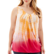 St. John's Bay® Sleeveless Tie-Dyed Woven Top - Plus