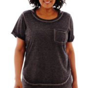 Silverwear® Short-Sleeve French Terry Hooded Tunic - Plus