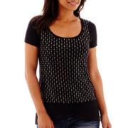 a.n.a® Short-Sleeve Chiffon-Bottom Embellished T-Shirt