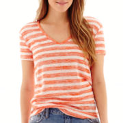 a.n.a® Short-Sleeve Striped Textured V-Neck T-Shirt