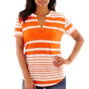 a.n.a® Short-Sleeve Split-Neck Textured T-Shirt- Petites