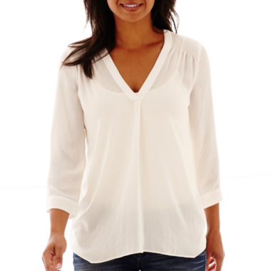 jcpenney.com | a.n.a® 3/4-Sleeve Smocked Shoulder V-Neck Blouse- Petite