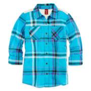 Arizona Lace-Back Button-Front Shirt - Girls 7-16 and Plus