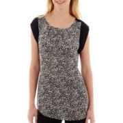 Worthington® Rolled Cap-Sleeve Pleated Blouse - Tall
