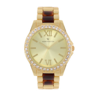 jcpenney.com | Worthington® Womens Gold Tone And Tortoise Bracelet Watch