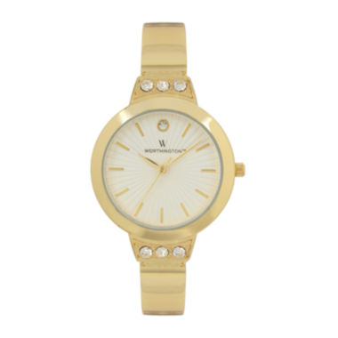 jcpenney.com | Worthington® Womens Gold Tone Crystal Accent Bracelet Watch