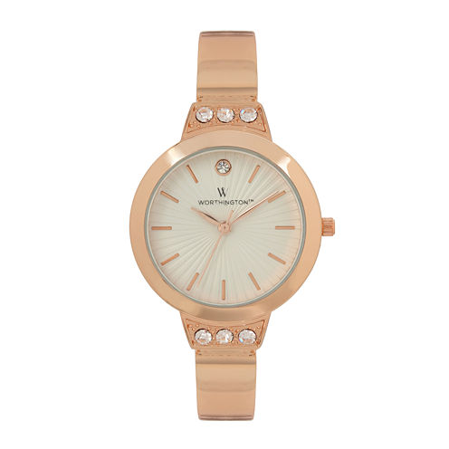 Worthington® Womens Rose Gold Tone Bangle Bracelet Watch