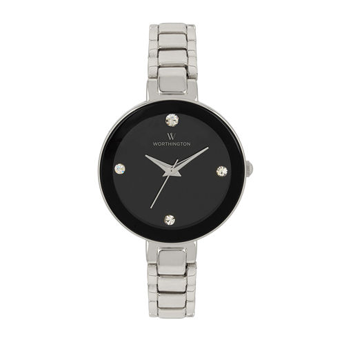 Worthington® Womens Silver Tone Black Dial Bracelet Watch
