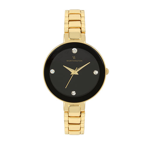 Worthington® Womens Gold Tone And Black Dial Bracelet Watch