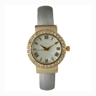 jcpenney.com | Olivia Pratt Womens Gold-Tone White-Dial Cuff Watch