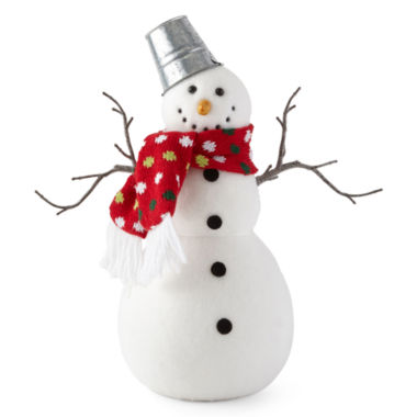 "jcpenney.com | North Pole Trading Co. 12"" Flock Snowman Table Piece"