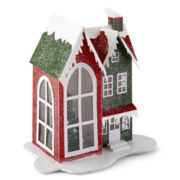 North Pole Trading Co. Paper House with LED Light Table Piece