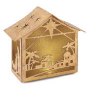 North Pole Trading Co.  Paper Nativity House with LED Light Table Piece