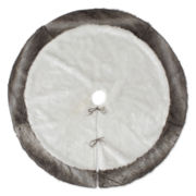 "North Pole Trading Co. 52"" White Faux-Fur Tree Skirt"