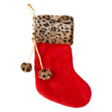 jcpenney.com | North Pole Trading Co. Red and Animal Print Stocking