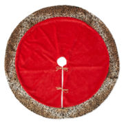 "North Pole Trading Co. 52"" Red and Animal Print Tree Skirt"