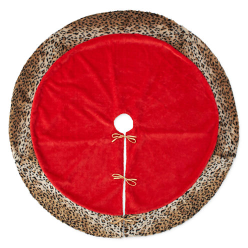 "North Pole Trading Co. 52"" Red with Animal-Print-Trim Tree Skirt"