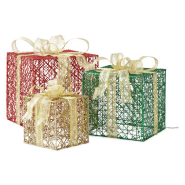 "jcpenney.com | North Pole Trading Co. 24"" Outdoor Gift Box Set of 3"