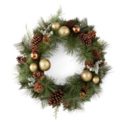 """North Pole Trading Co. 24"""" Pine Cone Floral Wreath"""
