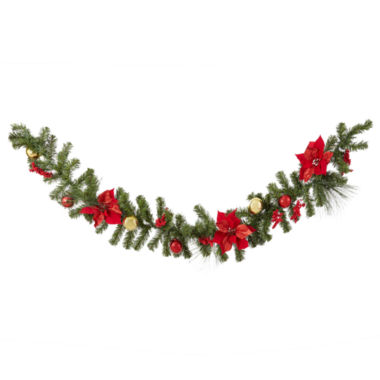 jcpenney.com | North Pole Trading Co. Poinsettia Garland