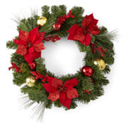 """North Pole Trading Co. 24"""" Red Poinsettia Floral Wreath"""