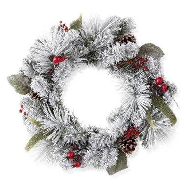 "jcpenney.com | North Pole Trading Co. 24"" Denver Flocked Wreath No Lights"