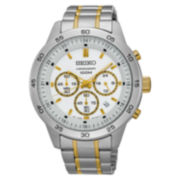 Seiko® Mens White Two Tone Bracelet Watch