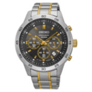 Seiko® Mens Gray Two Tone Bracelet Watch