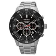 Seiko® Mens Black Silver Tone Bracelet Watch