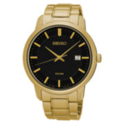 Seiko® Mens Black Gold Tone Bracelet Watch