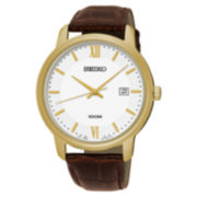 Seiko® Mens White Strap Watch