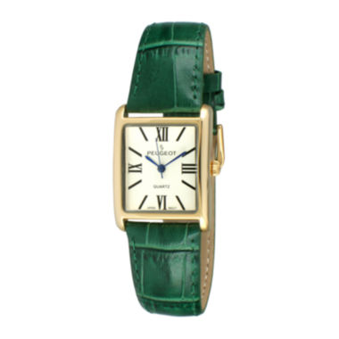 jcpenney.com |   Peugeot® Womens Gold Tone Roman Numeral Green Leather Strap Watch 3036GR