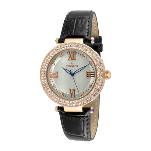 Peugeot® Womens Rose Gold Tone And Black T-Bar Leather Strap Watch 3046BK