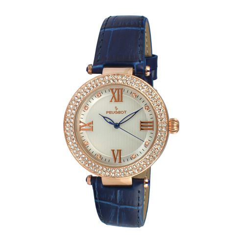 Peugeot® Womens Rose Gold Tone And Blue T-Bar Leather Strap Watch 3046BL