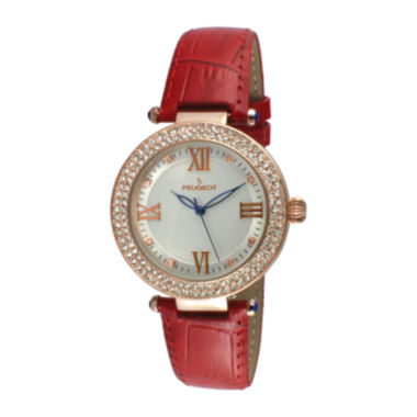 jcpenney.com |   Peugeot® Womens Rose Gold Tone And Red T-Bar Leather Strap Watch 3046RD