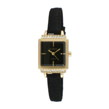jcpenney.com |   Peugeot® Womens Gold Tone And Black Petite Crystal Accent Suede Strap Watch 3047GBK