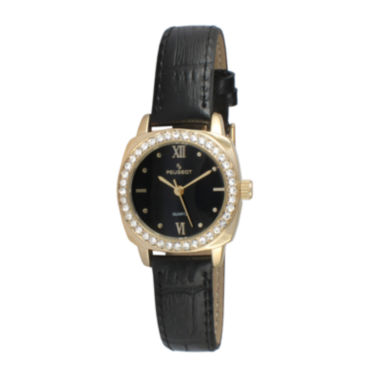 jcpenney.com |   Peugeot® Womens Gold Tone And Black Crystal Bezel Leather Strap Watch 3048BK