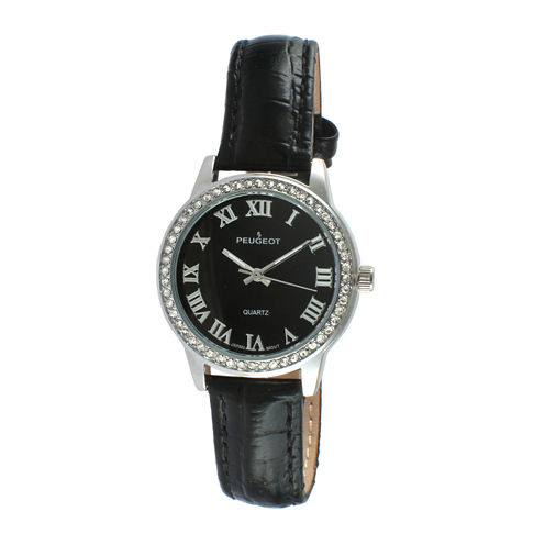 Peugeot® Womens Silver Tone And Black Crystal Bezel Textured Leather Strap Watch 3049SBK