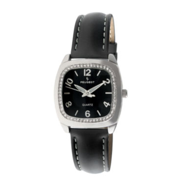 jcpenney.com |   Peugeot® Womens Silver Tone And Black Crystal Bezel Leather Strap Watch 304BK