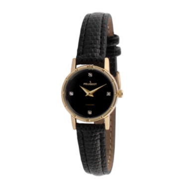 jcpenney.com |   Peugeot® Womens Gold Tone And Black Petite Leather Strap Watch 3050BK