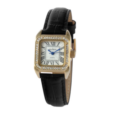 jcpenney.com |   Peugeot® Womens Gold Tone And Black Roman Numeral Leather Strap Watch 3052BK