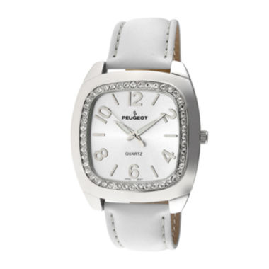 jcpenney.com |   Peugeot® Womens White Crystal Bezel Boyfriend Leather Strap Watch 310WT
