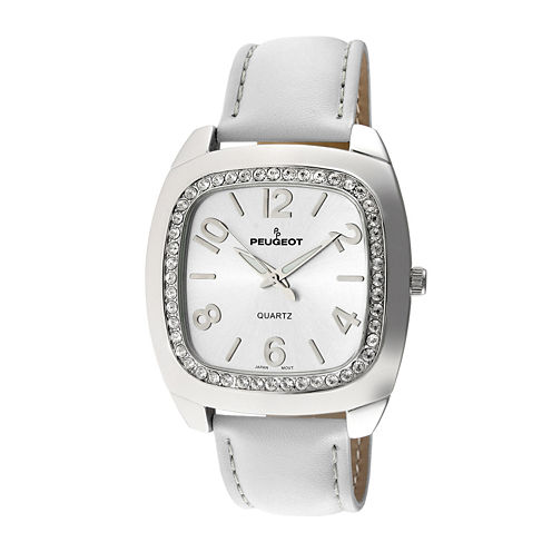 Peugeot® Womens White Crystal Bezel Boyfriend Leather Strap Watch 310WT
